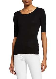 Michael Kors Cashmere Ribbed Elbow-Sleeve Top