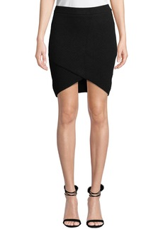 Michael Kors Cashmere Ribbed Wrapped Mini Skirt