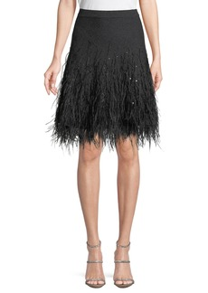 Michael Kors Cashmere Skirt W/ Ostrich Feather Hem