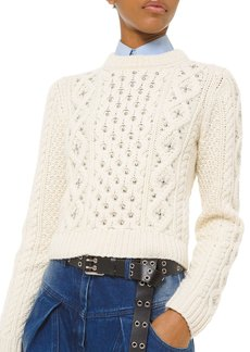 Michael Kors Cashmere Studded Cable-Knit Sweater
