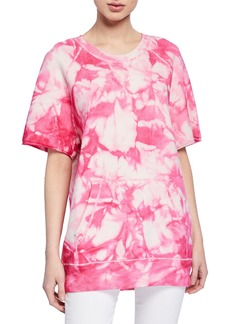 Michael Kors Cashmere Tie-Dye Raglan Short-Sleeve Sweatshirt