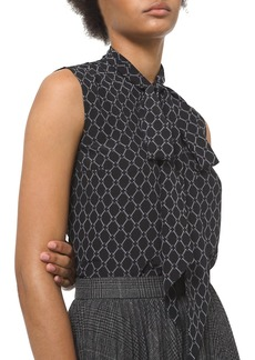 Michael Kors Chain Link Crepe de Chine Sleeveless Silk Blouse