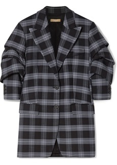 Michael Kors Checked Ruched Wool-blend Twill Blazer