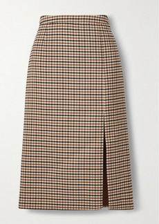 Michael Kors Checked Wool-blend Gabardine Skirt