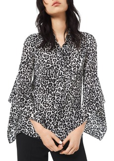 Michael Kors Cheetah-Print Crushed Bell-Sleeve Shirt