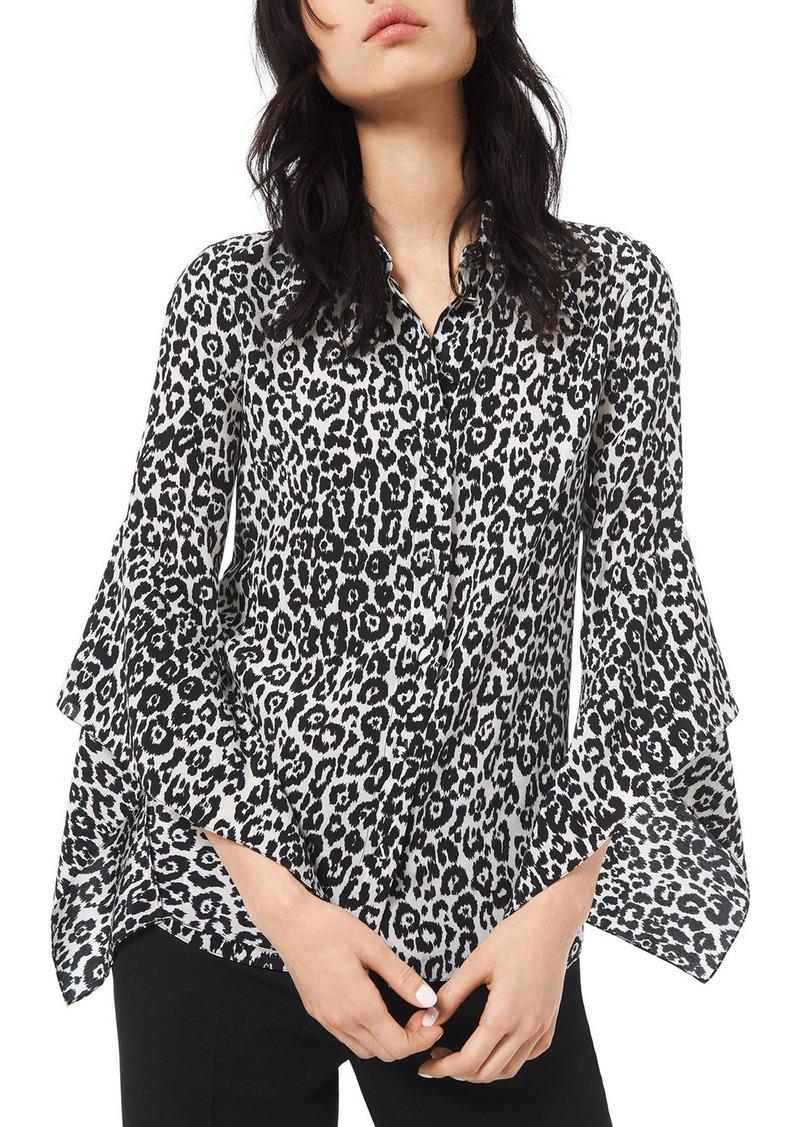 Michael Kors Cheetah-Print Crushed Bell-Sleeve Shirt