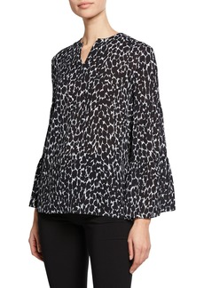 Michael Kors Cheetah-Print V-Neck Tiered-Sleeve Peasant Blouse