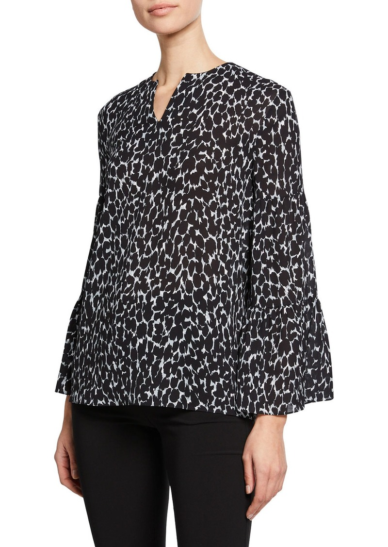 Michael Kors Cheetah-Print V-Neck Tiered-Sleeve Peasant Blouse