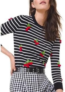 Michael Kors Cherry Embellished Stripe Sweater
