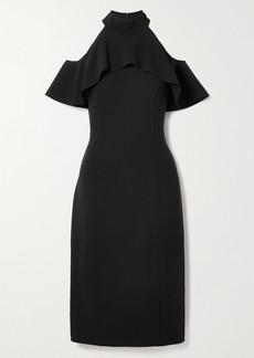 Michael Kors Cold-shoulder Ruffled Stretch-wool Midi Dress