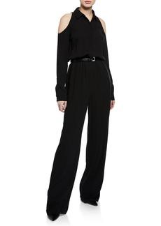 Michael Kors Cold-Shoulders Silk Belted Jumpsuit