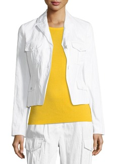 Michael Kors Collared Button-Front Cargo Jacket