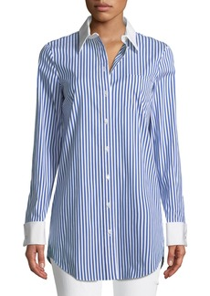 Michael Kors Contrast-Collar Button-Front Striped Long Shirt