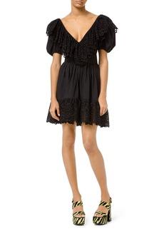 Michael Kors Cotton Poplin Puff-Sleeve Belted Dress
