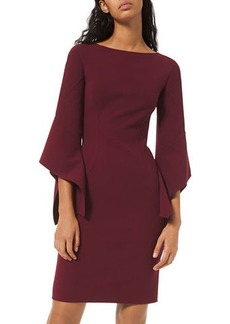 Michael Kors Crepe Draped-Sleeve Sheath Dress