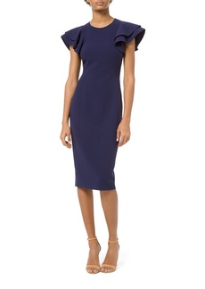 Michael Kors Crepe Flutter-Sleeve Sheath Dress