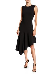 Michael Kors Crewneck Crepe Asymmetric Dress