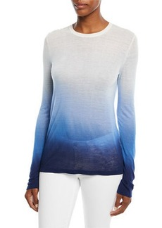 Michael Kors Crewneck Long-Sleeve Ombre Linen-Blend Tee