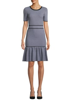 Michael Kors Crewneck Short-Sleeve Gingham Check Dress w/ Flounce