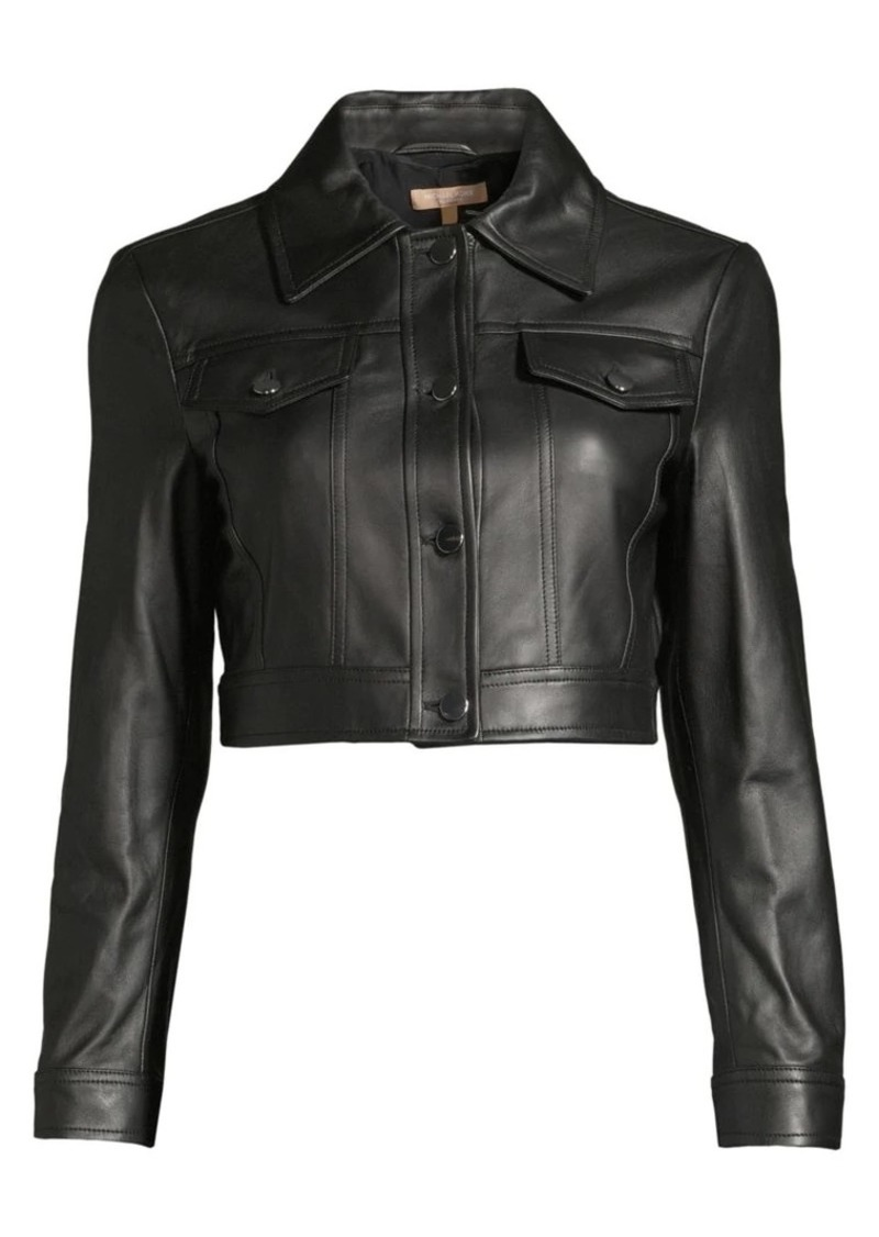 Michael Kors Crop Leather Jacket