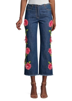 Michael Kors Cropped Embroidered Flare Jeans