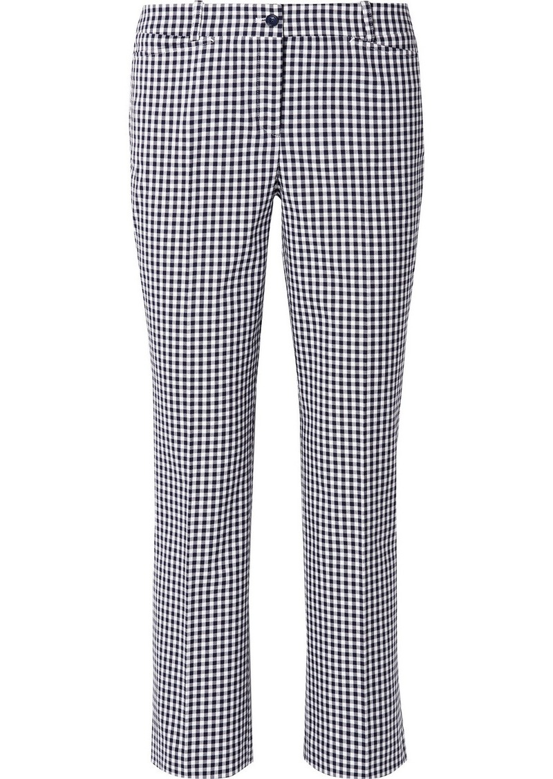 Michael Kors Cropped Gingham Cotton-blend Straight-leg Pants
