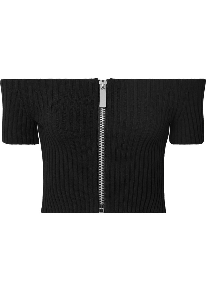 Michael Kors Cropped Off-the-shoulder Ribbed Stretch-knit Top