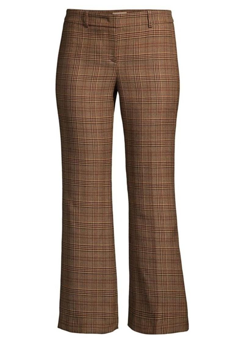 Michael Kors Cropped Plaid Wool Flare Leg Trousers