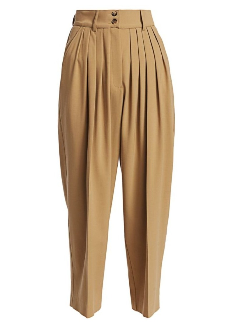 Michael Kors Cropped Pleated Wool Culottes