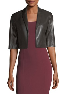 Michael Kors Cropped Plonge Leather Jacket