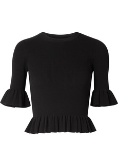 Michael Kors Cropped Ruffled Ribbed-knit Sweater
