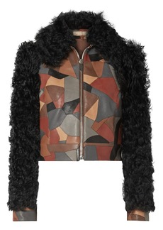 Michael Kors Cropped Shearling-trimmed Patchwork Textured-leather Jacket