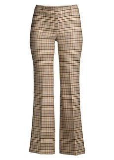 Michael Kors Cropped Stretch Wool Plaid Trousers