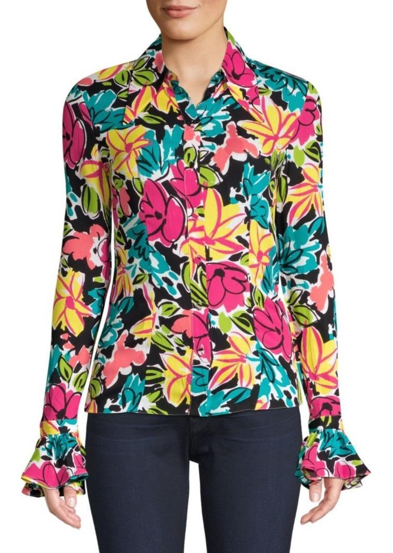 Michael Kors Crushed Bell Sleeve Floral Shirt