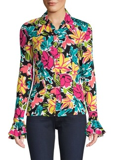 Michael Kors Crushed Bell Sleeve Floral Shirt