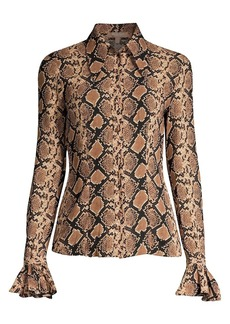 Michael Kors Crushed Bell-Sleeve Silk Blouse