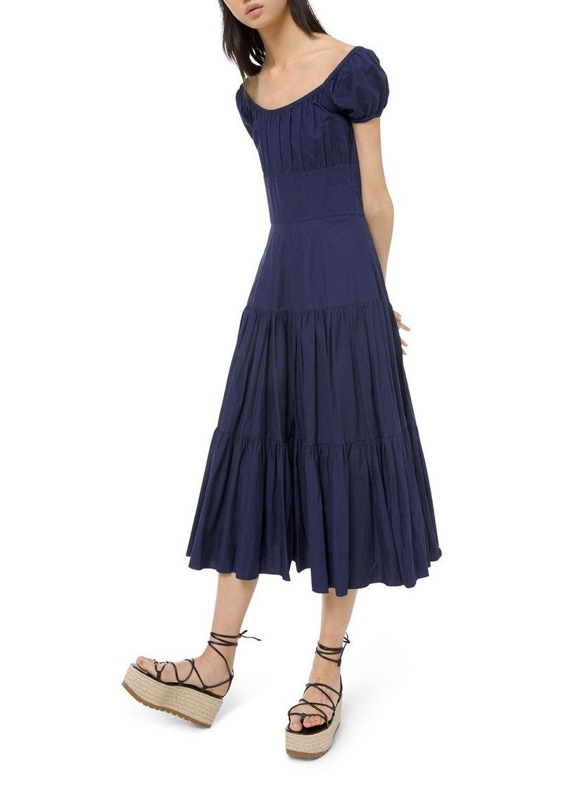 Michael Kors Crushed Cotton Cap-Sleeve Tiered Dress