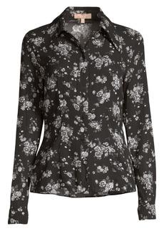 Michael Kors Crushed Floral Silk Button-Down Shirt
