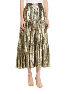 Michael Kors Crushed Metallic Silk Tiered Long Skirt