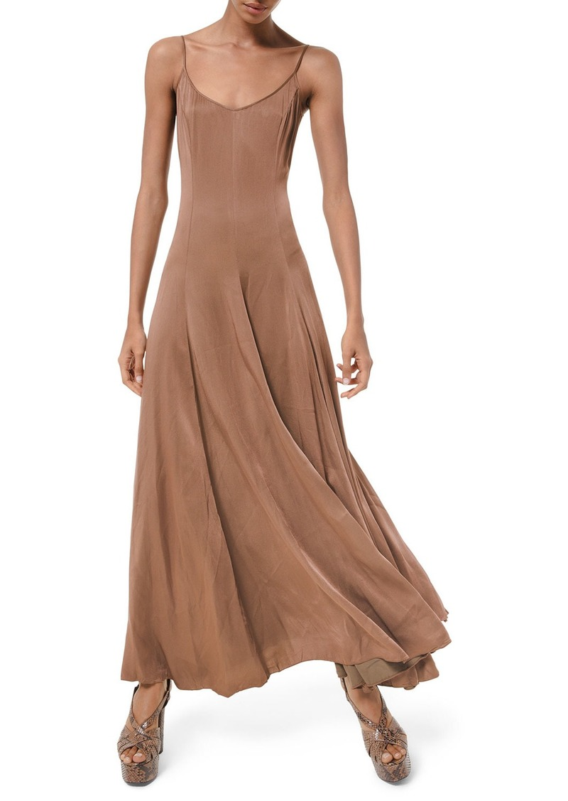 Michael Kors Crushed Satin Charmeuse Midi Dress