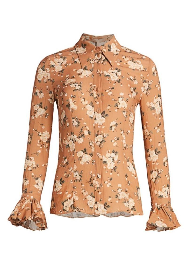 Michael Kors Crushed Silk Bell-Sleeve Shirt
