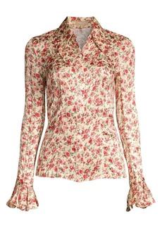 Michael Kors Crushed Silk Floral Bell-Sleeve Shirt