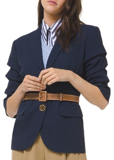 Michael Kors Crushed-Sleeve Fitted Blazer