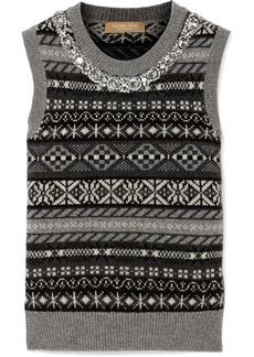 Michael Kors Crystal-embellished Fair Isle Cashmere Vest