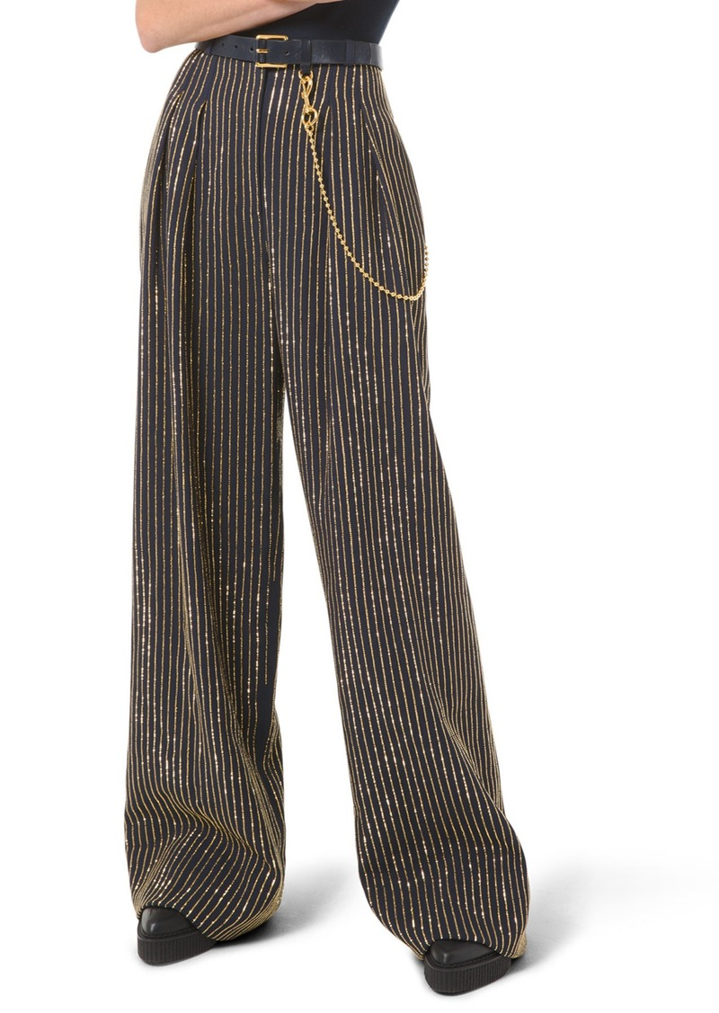 Michael Kors Crystal Pinstripe Wide-Leg Pants
