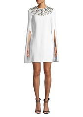 Michael Kors Crystal Puka-Shell Embellished Slit-Sleeve Mini Dress