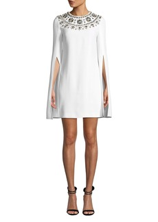 Michael Kors Crystal Puka-Shell Embellished Slit-Sleeve Mini Dress