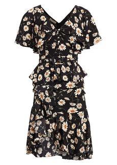 Michael Kors Daisy Crepe De Chine Cascade Ruffle Belted Dress