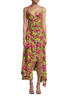 Michael Kors Daisy Floral Crepe De Chine Asymmetric Dress