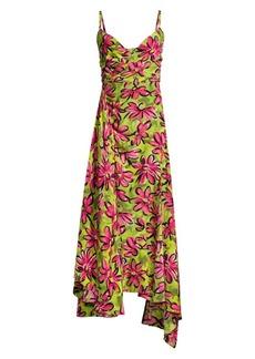Michael Kors Daisy Floral Crepe De Chine Asymmetric Dress